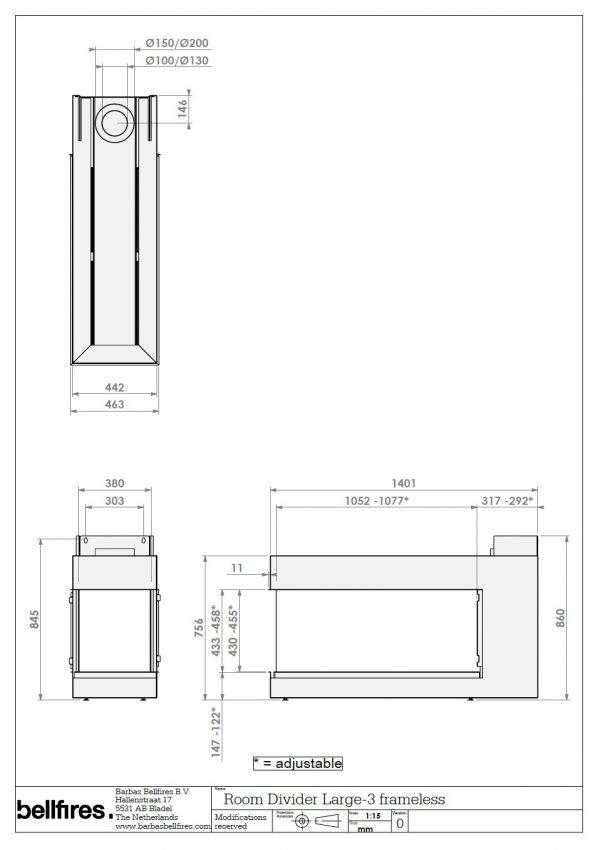 Bellfire Room Divider Large 3-6120